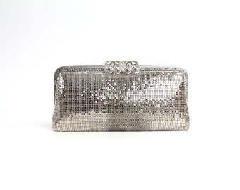 70s Vintage Silver Chainmail Handbag | Metal Mesh Evening Bag | Silver Glomesh Clutch