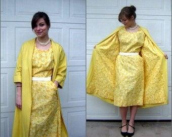 Vintage Dress Set - Sheath & Duster Coat Happy Yellow Print  - Retro 50s 60s SIze Small