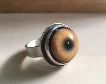 Lion eye ring, eyeball ring, taxidermy eye, Lion jewelry, glass eye, sterling silver Lion ring, Mountain Lion ring, girlfriend gift for her