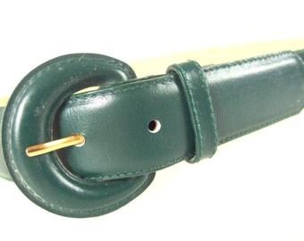 Vintage 1980's Belt, Dark Green Leather Belt, Modern Size 8 to 12, Small to Medium