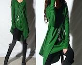 Beautiful eyes - boho tunic set / asymmetrical thumb hole tunic / V neck tunic / green tunic / lavander tunic / rust tunic (Q1996)