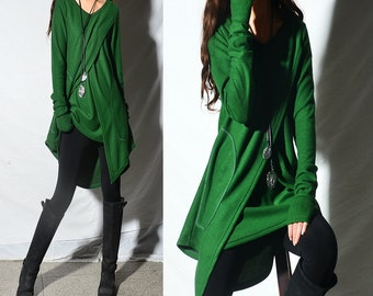 Beautiful eyes - boho tunic set / asymmetrical thumb hole tunic / V neck tunic / green tunic / lavander tunic / rust tunic (Q1996)