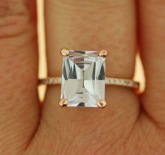 Emerald cut Sapphire Ring. Engagement Ring emerald cut 14k rose gold diamond ring 2.95ct sapphire ring by Eidelprecious
