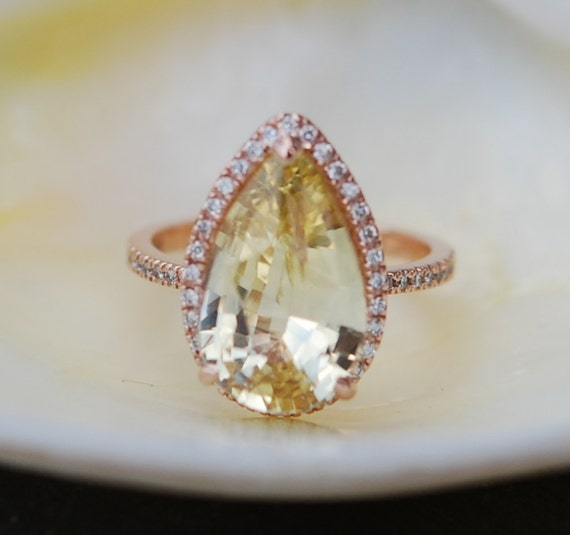 Yellow sapphire ring. Pear cut sapphire ring. 6.84ct Pear cut Yellow champagne sapphire 14k rose gold diamond engagement ring Eidelprecious