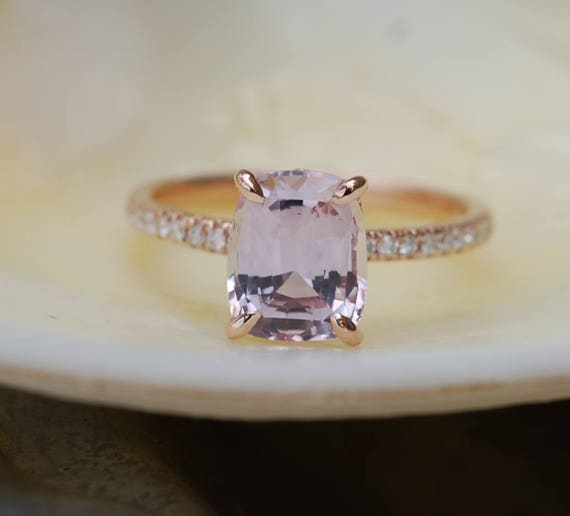 Rose gold engagement ring. Dusty Peach sapphire 2.55ct peach champagne sapphire 14k rose gold diamond ring by Eidelprecious