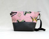 Adele Cross Body Bag in Retro Beatnik Boomerang Barkcloth and Faux Leather