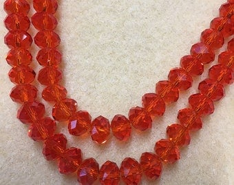 Light Cherry Crystal Mix Glass Crystal Rondelles 8x5mm Approx 35 beads