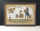 RESERVED for STELLA    Robert Davey framed primitive folk art painting, pilgrim and birds.