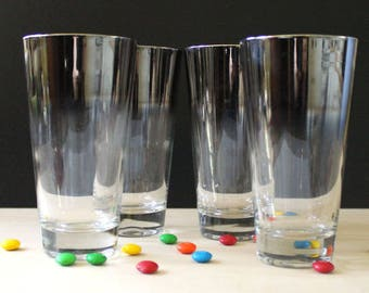 Set of four vintage Dorothy Thorpe long drink glasses. Silver Ombre.
