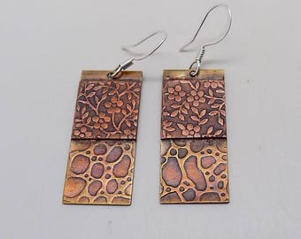 Mixed metal jewelry copper brass earrings. Steampunk jewelry earrings.