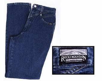 "vintage ROCKY MOUNTAIN western jeans // 80's 90's western jeans // Rockies high waisted cotton denim // 30"" X 36"""