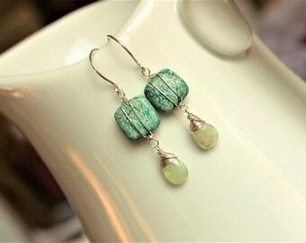 Sterling Silver Howlite and Prehnite Gemstone earrings