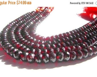 55% OFF SALE 8 Inches 7mm Finest Quality Natural Garnet Micro Faceted Rondelle Beads / Semiprecious Gemstone Beads
