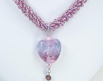 Handmade Beaded Kumihimo with Pink Lampwork Heart
