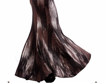 Skirt, YOUR SIZE, Alchemy, Black, Earthy Copper & Dark Silver, Stretchy, Tribal, Fusion Bellydance, Cabaret, Goth, Cocktail, Boutique