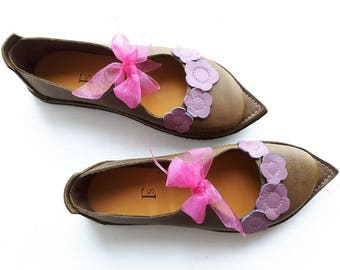 UK 5, Handmade womens Shoes, Leather Fairytale shoe ESTHER #3229 olive lavender