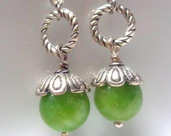 Green  Earrings, Agate Earrings, Dangle Earrings, Green Agate Earrings, gift, mom, bridemaid