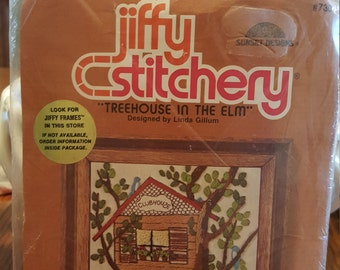 """Vintage Crewel Embroidery Kit Sunset Designs """"Tree house in the Elm"""" designed by Linda Gilium - Unopened"""