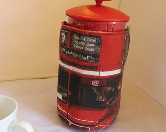 Cafetiere cosy in London bus print