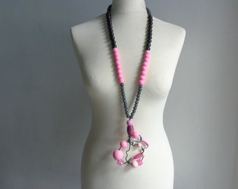 Pink black grey statement necklace long necklace wire necklace