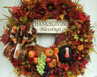 Pre-order 2 available XL custom order, Thanksgiving wreath, special order, Fall wreath, thanksgiving greetings, turkey