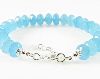 Blue Quartz Bracelet, Gemstone Bracelet, Light Blue Bracelet, Quartz Healing Bracelet, Mystic Bracelet
