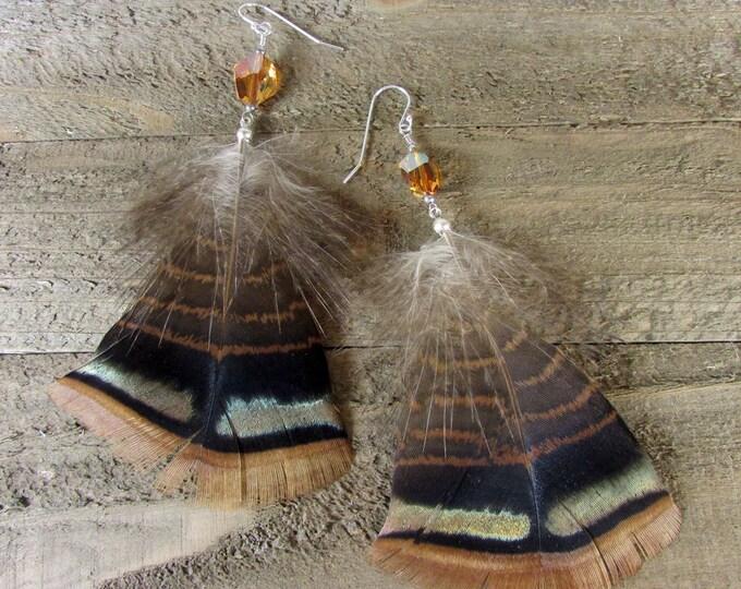 Feather Earrings, Turkey Feather Dangle, Sterling Silver, Long Feathers, Boho Earring