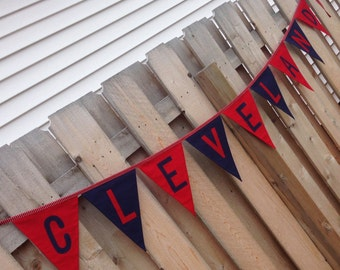 CLEVELAND INDIANS BANNER--Cleveland Indians Pennent--Cleveland Baseball-Sports Banner--Indians Party--Cleveland Party--Fabric Garland Flags