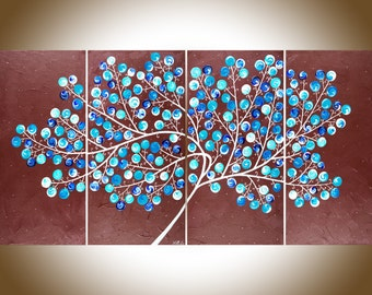 "Blue turquoise colorful large wall art painting on canvas swirl leaves tree Original artwork canvas art ""Blueberry Tree"" by qiqigallery"