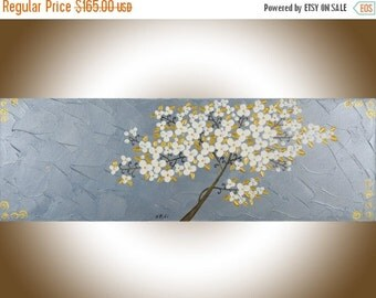 """contemporary wall art White flowers tree gold silver original art wall art wall decor Canvas art """"Cherry Blossom"""" by QIQIgallery"""