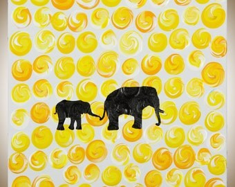 "Nursery wall art Elephant painting Animal art yellow black white wall decor nursery wall art wall hangings ""Strolling 2"" by QIQIGALLERY"
