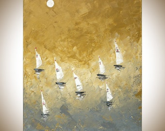 Sail boat Painting moon painting abstract seascape yellow orcher gray white Original artwork home decor wall art by qiqigallery