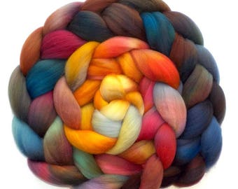 Roving Superfine Merino Handdyed 19.5 Micron Combed Top, Dancing in the Dye Room, 5.5 oz.