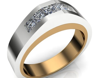 Two Tone Gay Engagement Ring with Band of Diamonds