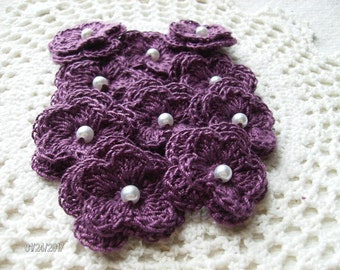 Crochet Double Layered Flowers in Plum with Pearl Centers Set of 10