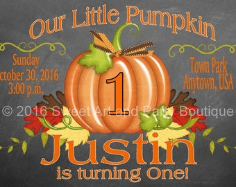 Our Little Pumpkin, Invitation, Pumpkin Birthday Invitation, Fall Invitation, Pumpkin Invitation, 1st birthday, Printable, Print Yourself