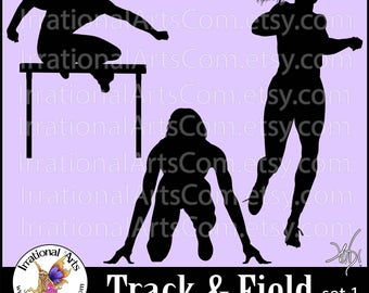 Track and Field set 1 Silhouettes - Vinyl Ready Images digital clipart graphics - 3 EPS, 3 SVG & 3 Png  hurdles running (Instant Download)