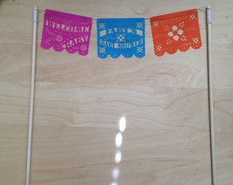 Mini cake topper Baby Shower with dowels papel picado personalized custom garland mexican theme fiesta welcome baby girl boy gender reveal