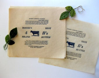 TWO Vintage Parchment Bossie Cow Butter Wrappers, NOS