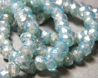 Czech Blue Aqua Mercury Glass 6x8mm Faceted Fire Polished Glass Rondelle Beads (25) 1230