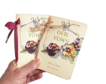 Our Vows Wedding Vow Books, Custom Set of Two, Pansy Vow Books, Personalized Garden Wedding, Boho Wedding, Personalized Date,  NC Wedding