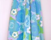 Vintage twin flat sheet blue and green floral retro