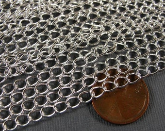 Special Sale 32 ft Silver plated curb chain, jewelry chain,  5.5x3.5mm, Bright silver jewelry chain  CHN815