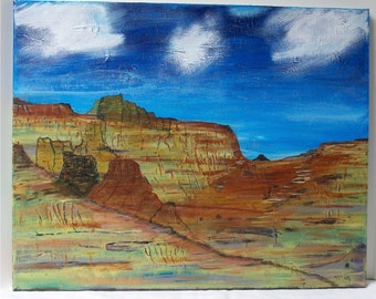 "Canyon Walls, Original Acrylic Painting Wall Art Gallery Wrap  20"" by 16"""