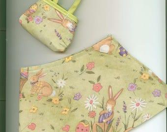 """Handmade Wrap Skirt - 18"""" doll - EASTER Light Green with Matching Handmade Purse"""