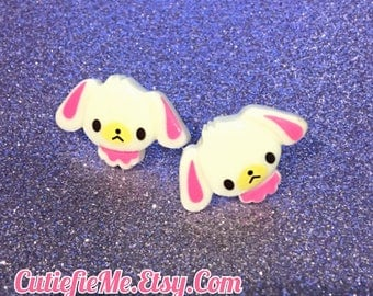 Sugarbunnies White Bunny Stud Earrings