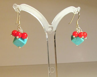 Sea Bamboo & Turquoise Earrings