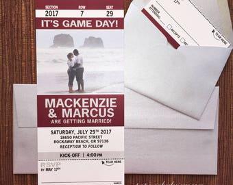 Sport Ticket Invitation with RSVP tear-off stub / Wedding / Birthday / Bar Bat Mitzvah / Party