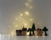 Rustic Home Decor, Miniature houses decoration, Cottages and trees, Handmade felt decor.