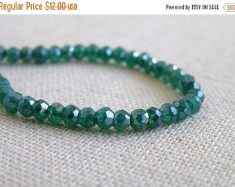 Black Friday Sale Mystic Green Onyx Gemstone Rondelle AAA Emerald Green Faceted 4mm 1/2 Strand 50 beads